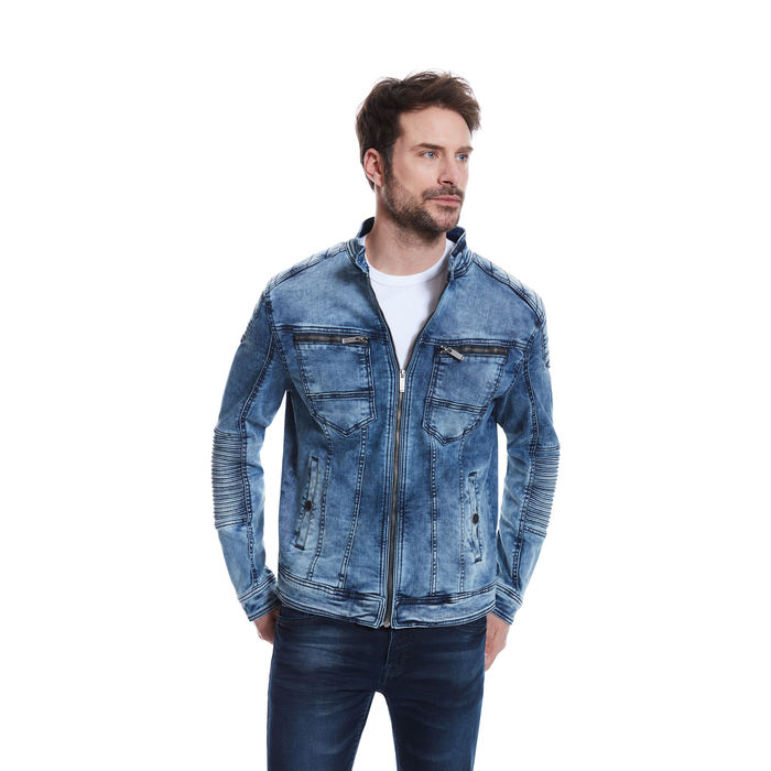 low priced 350cb d6ee3 Jeansjacke im coolen Bikerstyle